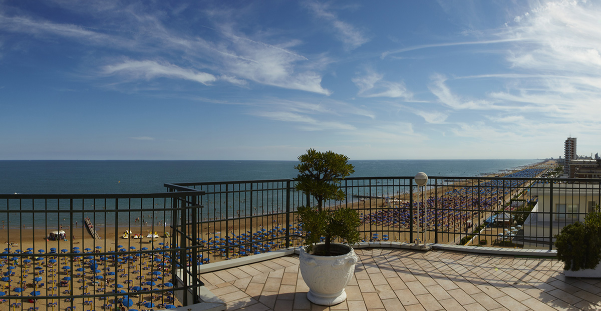 The slendid view from the top terrace of the Termini beach hotel in Jesolo