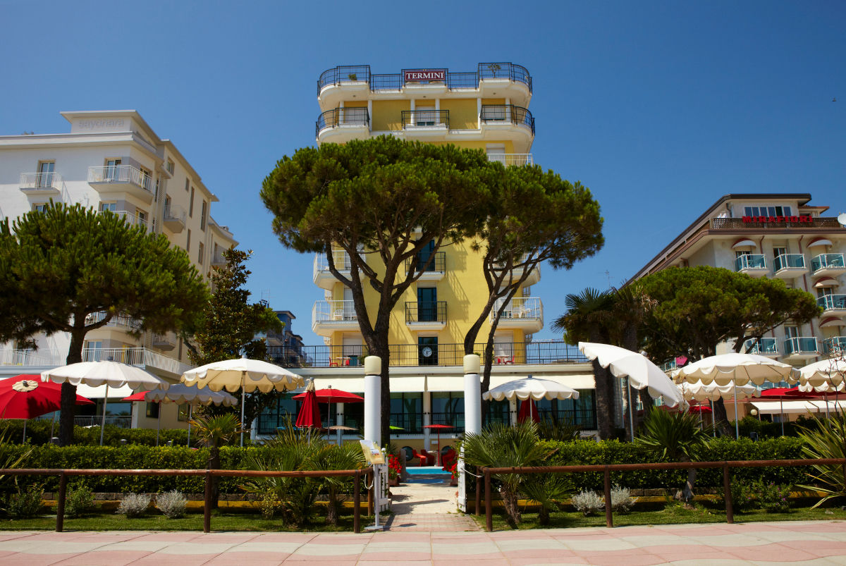THe view from the beach of the Termini beach hotel in Jesolo