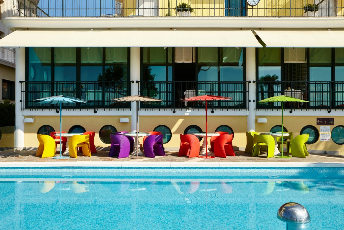 The pool bar terrace of the Termini Beach Hotel in Jesolo.